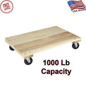 Solid Deck Hardwood Dolly 1000 Lbs Capacity 24x16 Sturdy Moving Furniture New