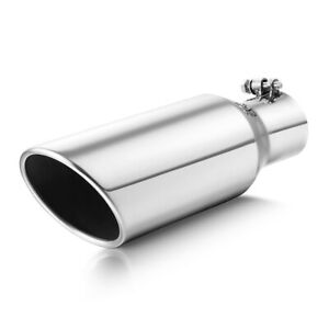 Stainless Steel Exhaust Tip Rolled Edge 2 5 Inlet 4 Outlet 12 Long