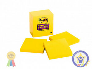 Post it Super Sticky Notes Canary Yellow Lined 4 X 6 5 Pads Super Sticky