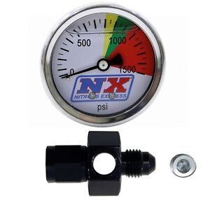 Nitrous Express N2o Pressure Gauge W Flow Thru 4an Fitting Brand New