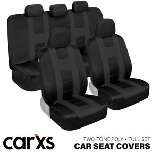Charcoal Gray Car Seat Covers Front Rear Bench Full Set For Auto Truck Suv