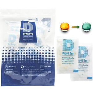 100 Packs Dessicant Blue To Pink Silica Gel Packets 3 Gram Air Dryer Premium
