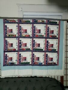 Vintage Patchwork Quilt Top Log Cabin 62x58