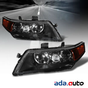2004 2005 2006 2007 2008 Acura Tsx Black Projector Amber Headlights Set