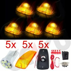 5pcs Amber Cab Marker Light Clearance Lamp W Base White Led Wire For Gmc