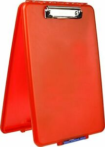 Slimcase 2 Storage Clipboard With Side Opening Neon Red Break Resistant Plastic
