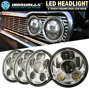 For 1966 1974 Dodge Charger Coronet 4x 5 75 Led Chrome Headlights High low Beam