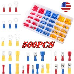 500pcs Insulated Electrical Wire Splice Terminal Spade ring Connector Kit
