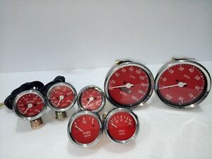 Smiths Kit 52mm Temp Oil Temp Oil Fuel Volt Speedo tacho 100 Mm Red Chrome Me