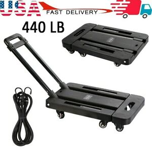 440lbs Cart Folding Dolly Collapsible Trolley Push Hand Truck Moving W 6 Wheels