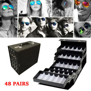 Foldable Sunglasses Eyewear Eyeglasses Storage Display Case Suitcase 48 Pairs