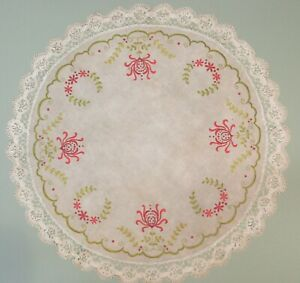 Large Round Arts And Craft Linen With Embroidered Design And Crocheted Border