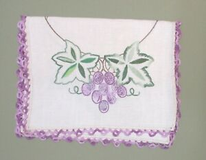 Arts And Craft Linen Runner With Embroidered Grape Design