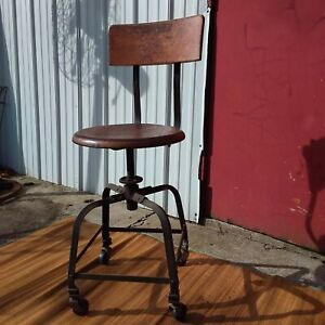 Rare Antique Industrial Factory Chair Angle Steel Co Michigan