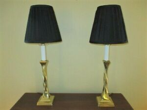 Pair Tall Vintage Twisted Brass Columns Black Shades Tole Era Buffet Table Lamps