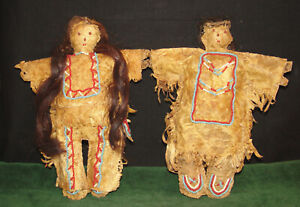Native American Indian Mid 1800 S Beaded Leather Beaded Plains Indian Doll Pair