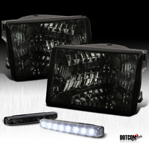 1993 1998 Jeep Grand Cherokee Smoke Tinted Headlights black Led Fog Lamps