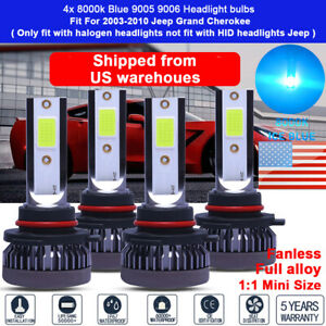 4x 9005 9006 Headlight Bulbs For 2004 2005 2006 Jeep Grand Cherokee Hi Lo Beam