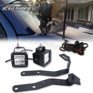24w Led Fog Light Upper Hood Ditch Bracket Wire Kit For 16 Toyota Tacoma Truck