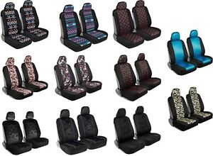 White Flower Print Car Seat Covers Front Seats Universal Fit Auto Truck Van Suv