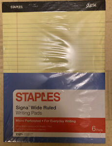 Staples Wide Ruled Writing Pads Legal Size Perforated 12 Pads Canary