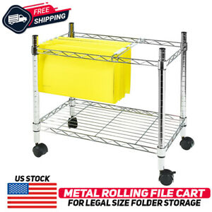 Single Tier Mobile File Cart Metal Rolling Office Paper Holder Organizer Silver