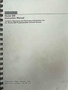 Keithley Model 220 Instruction Manual 220 901 01d