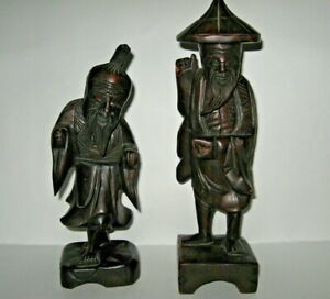 Rare Lot 2 Vintage Asian 12 Figurines Chinese Hand Carved Wood Statues