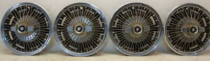 Four 4 1965 1967 Buick Special 14 Spinner Wire Spoke Wheel Cover Hubcaps
