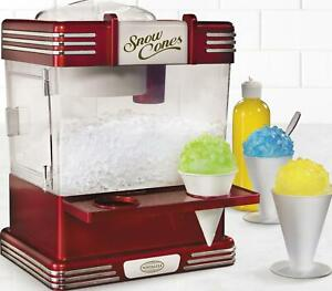 Snow Cone Machine Maker Electric Shaved Ice Crusher Retro Red Countertop Summer