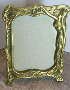 Vintage Art Nouveau Style Solid Brass Maiden Picture Frame