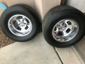Gasser Hot Rod Pro Street Aluminum Vintage Mag Wheels With Tires 15x10