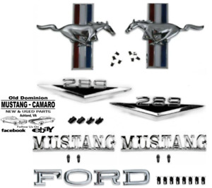 1965 1966 Mustang Coupe Convertible 289 V8 Front End Emblem Kit