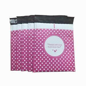 0 6x10 6x9 pink Dots Poly Bubble Mailer Padded Envelope Shipping Bag 50 100 250