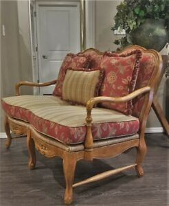 1990s Vtg French Country Provincial Settee Sofa Rush Seats Reversible Cushions