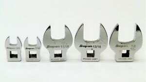 5 Piece Snap On Open End Crowfoot Wrench Set 3 8 Thru 7 8 Drive 3 8