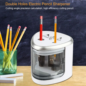 Double Holes Electric Pencil Sharpener Stationery For School Office Home Use