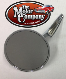 1967 Camaro Chrome Round Side Mirror Smooth Base W hdw In Stock