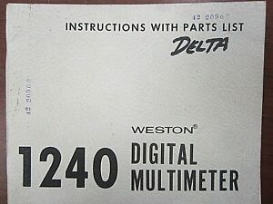 Weston 1240 Digital Multimeter Instructions With Parts List