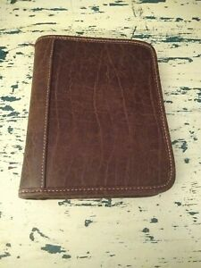Franklin Covey 365 6 ring 1 Compact Chocolate Brown Faux Leather Zipper Planner