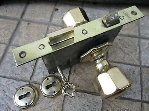 Vintage Brass Complete Within Door Lock With Handles Key Reputable Eagle Brand