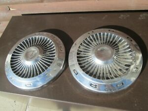 2 Ford Galaxie Fairlane Hubcaps Dog Dish 10 1 2 Hi Performance Oem Original
