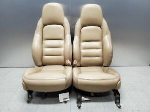 2005 2006 Corvette C6 Seats Driver Passenger Tan Wear Pair Power