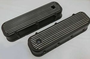 Bbc Big Block Chevy Tall Black Finned Valve Covers Aluminum 396 427 454 Display