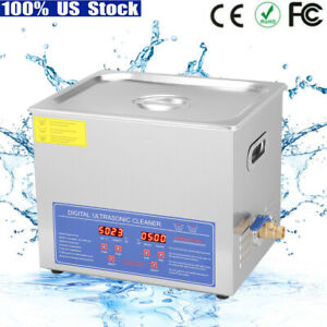 10l Stainless Steel Ultrasonic Cleaner Heating Cleaning Machine Heater W Timer