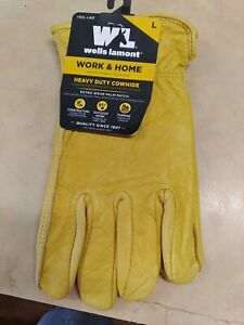 Wells Lamont Work Home Gloves Gold Men s Large Cowhide Leather Heavy Duty