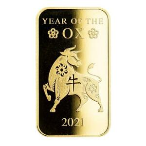 SPECIAL PRICE 2021 1oz .9999 Gold Bar Lunar Year of the Ox in Certi LOCK® #A508 $1844.22