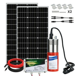 200w Deep Well Submersible Pump Kit W 6ah Lifepo4 Battery 200w Solar Panel Kit