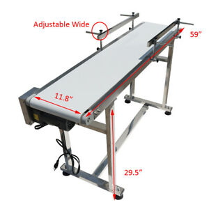 59 X 11 8 Conveyor Belt With Guardrails Adjustable Speed Smoth Pvc Stainless