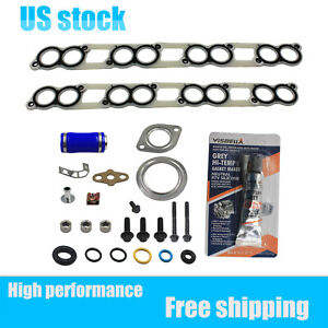 New Intake Manifold Gasket Set W Blue Hose For Ford Powerstroke Diesel 6 0 6 0l